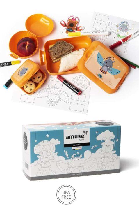Orange Kinder Geschenkbox Lunch Set 3 Teile mit Nielpferd Animal Tiermotiv - Baby Brotdose, Sandwich-Dose, Apfelbox, Pausendose Snackbox für Mädchen & Jungen von AMUSE - Vorderansicht Set Verpackung Lunchbox