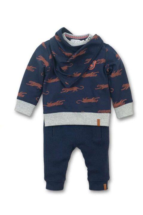 Babyset Sweatanzug 3er-Set mit Rundhals Babypullover Panther orange - Gerippte Sweathose mit Taschen dunkelblau - Halstuch Dreieckstuch gemustert navy Tiermuster von Dirkje - Voderansicht