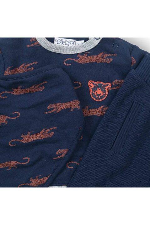 Blau Baby 3 Teile Set Sweatanzug Sweatshirt Oberteil Panther orange Patch - Gerippte Kinder Sweathose mit Seitentaschen dunkelblau - Tier Jungen Halstuch Dreieckstuch von Dirkje - Detailansicht