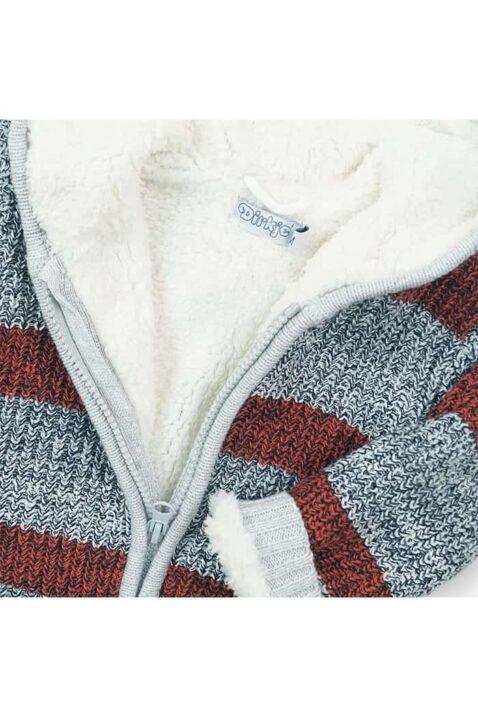Gefütterte Jungen Baby Sweatjacke Strick gestreift mit Kapuze in Grau Rot, Patch & Reißverschluss - Kinder Rundhals Kapuzen Pullover für Herbst & Winter von Dirkje - Detailansicht
