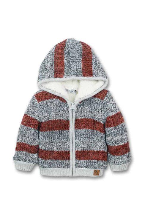 Graue Baby gefütterte warme Strickjacke mit Kapuze im Streifen-Look, Patch, Reißverschluss & Plüsch aus Baumwollstrick für Jungen von Dirkje - Vorderansicht