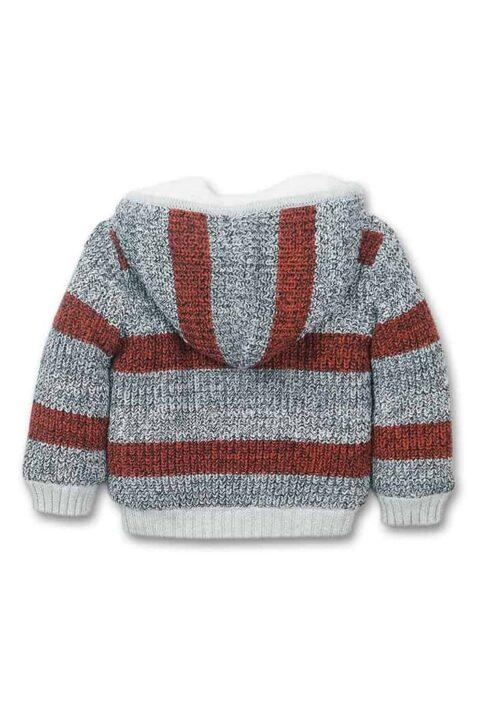 Grau rot gestreifte Kinder Baby Kapuzen-Strickjacke Sweatjacke mit Reißverschluss aus Baumwolle gestrickt gefüttert - Plüschjacke Oberteil für Winter Jungen von Dirkje - Rückenansicht