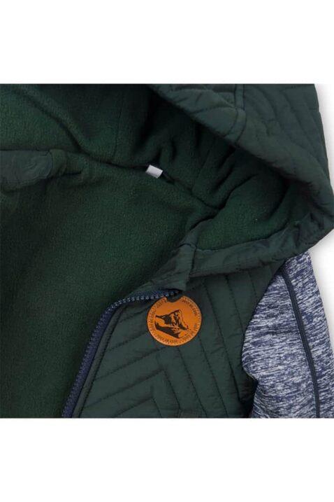 Gefütterte Kinder Baby Herbst & Winter Kapuzenjacke mit Taschen, brauner Berge Patch & Print, Reißverschluss für Jungen mehrfarbig grau dunkelgrün von Dirkje - Detailansicht