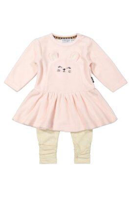 Dirkje Babyset 2er-Set Mädchen mit Rundhals Velours Babykleid Kaninchen hellrosa mit weitem Rock – Gerippte Leggings beige melange – Voderansicht