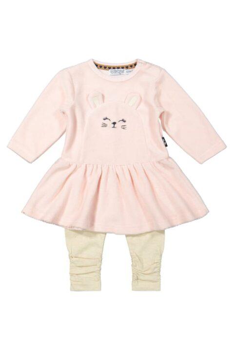 Babyset 2er-Set Mädchen mit Rundhals Velours Babykleid Kaninchen hellrosa mit weitem Rock - Gerippte Leggings beige melange von Dirkje - Voderansicht