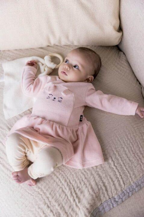 Kinder Babyset 2 Teile mit Tier Rundhalskleid Velours Kaninchen Motiv in rosa für Mädchen - Hochwertige Leggings Schlupfhose beige von Dirkje - Babyfoto Kinderfoto