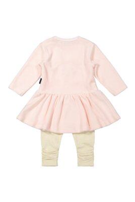 Mädchen Baby 2er Set mit Tier Velours Rundhals Langarmkleid Kaninchen & Ohren hellrosa - Leggings Schlupfhose gerippt beige braun von Dirkje - Rückansicht
