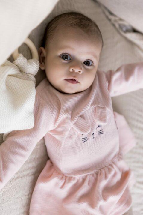 Mädchen Baby-Set 2 teilig mit Leggings Schlupfhose in Beige - Velours Babykleid mit Kaninchen Hase in rosa Winter & Herbst von Dirkje - Kinderfoto Babyfoto