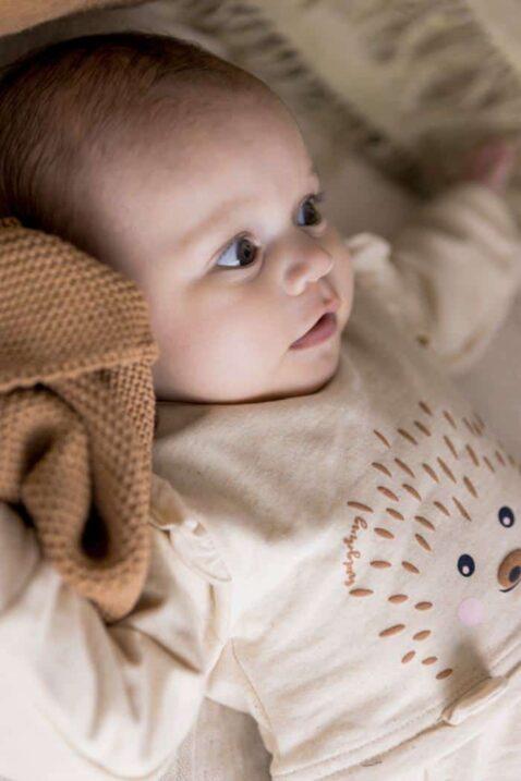 2 teiliges Baby Set für Mädchen Leggings Sweathose braun unifarben - Kinder Kleid mit Igel Motiv & Rüschen langarm Tiermotiv in Beige von Dirkje - Babyfoto Kinderfoto