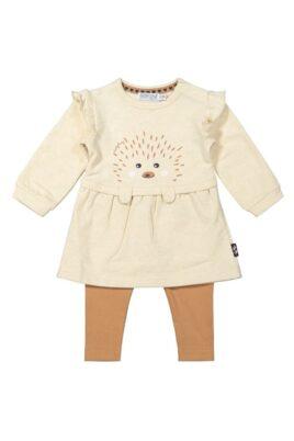 Dirkje 2er Baby-Set beiges Babykleid langarm mit Rüschen & Igel-Print – Camel brauner Kinder Leggings unifarben für Mädchen – Vorderansicht