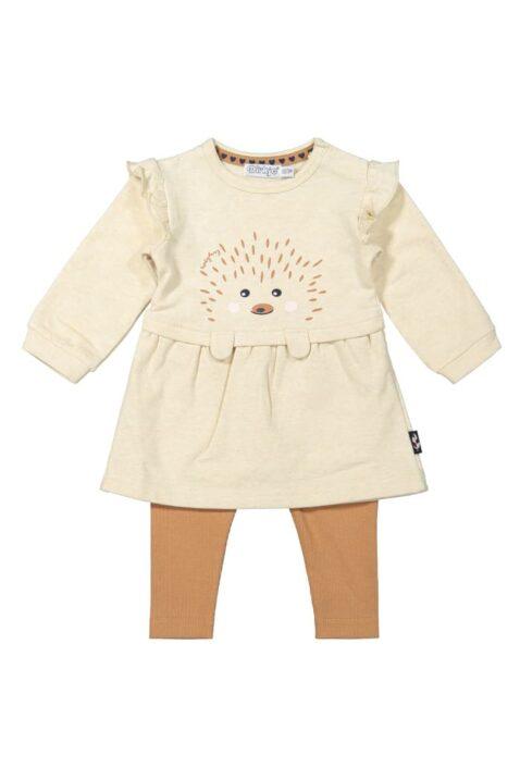 2er Baby-Set beiges Babykleid langarm mit Rüschen & Igel-Print - Camel brauner Kinder Leggings unifarben für Mädchen von Dirkje – Vorderansicht