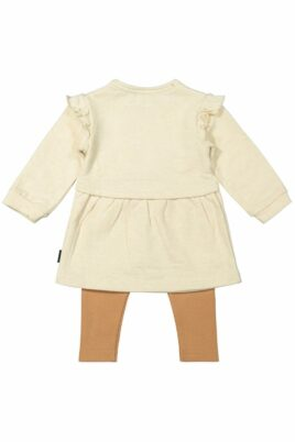 Baby Mädchen 2 teiliges Set Mädchenkleid langarm in beige mit Rundhalsausschnitt & Igel Tiermotiv Print - braune Kinder Leggings unifarben von Dirkje – Rückansicht