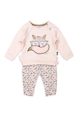 Dirkje Baby Kinder Sweatanzug 2er Babyset Pullover mit Fuchs Motiv rosa – Sweathose Babyhose rosa-blau mit Punkten für Mädchen – Vorderansicht