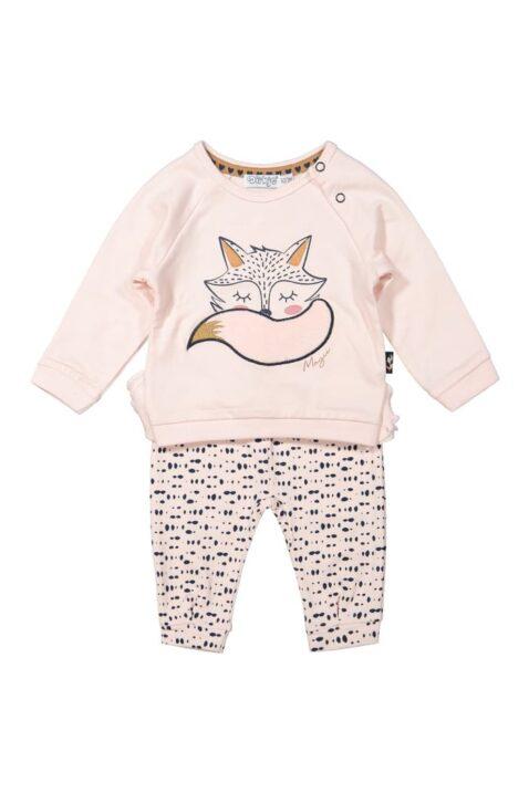 Baby Kinder Sweatanzug 2er Babyset Pullover mit Fuchs Motiv rosa - Sweathose Babyhose rosa-blau mit Punkten für Mädchen von Dirkje - Vorderansicht