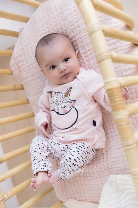 Baby Mädchen 2er Set Jogginganzug Freizeitanzug Rundhals Babypullover mit Fuchs Tier Motiv in Rosa - Sweathose Schlupfhose rosa blau Punkte von Dirkje - Babyfoto Kinderfoto