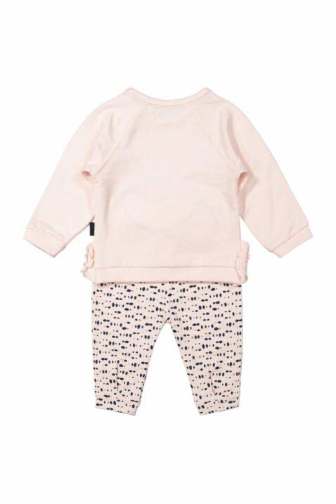 Kinder Baby 2 teiliges Babyset Sweatanzug Sweatshirt mit Fuchs - Mädchen Freizeit Sweathose Schlupfhose gepunktet in rosa-blau von Dirkje - Rückansicht