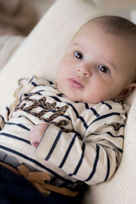 DIRKJE 2er-Set Baby Kleid mit Tüllrock lange Sweathose Schlupfhose dunkelblau-beige gestreift, little Schriftzug, für Mädchen – Babyfoto Portrait
