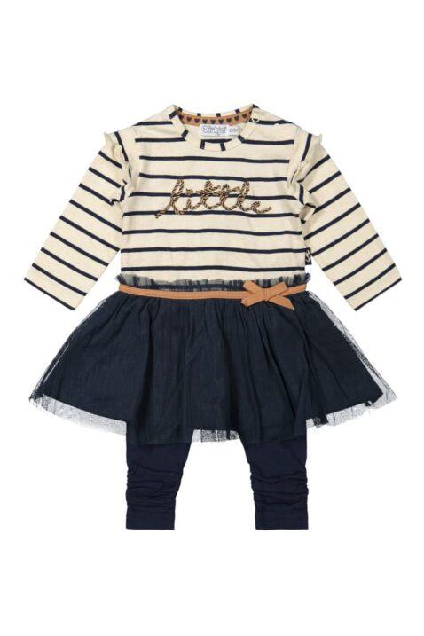 DIRKJE 2er-Set Baby Kleid blau-beige gestreift mit glänzendem Tüllrock dunkelblaue lange Leggings Sweathose, little Schriftzug, für Mädchen – Vorderansicht