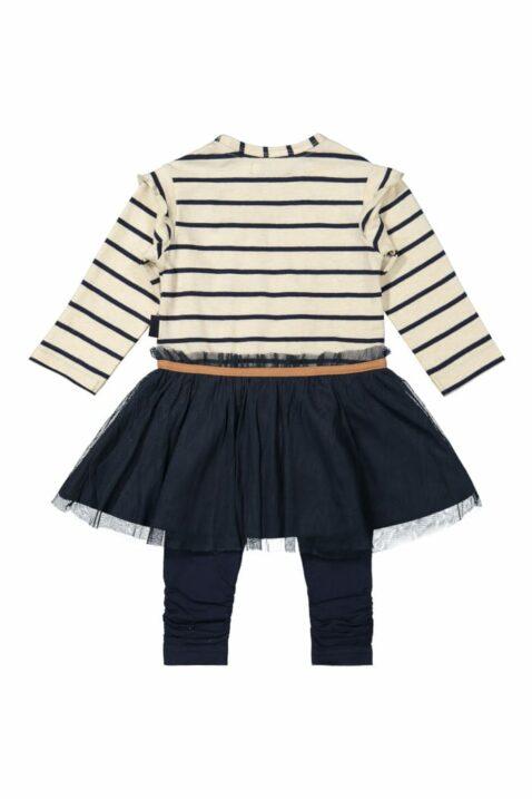 DIRKJE 2er-Set Baby Kleid mit glänzendem Tüllrock lange Leggings Sweathose blau-beige mit Querstreifen, little Schriftzug, für Mädchen – Rückansicht