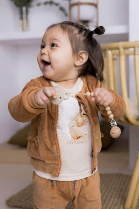 Mädchen Baby Langarmshirt beige melange mit Tiermotiv Eichhörnchen – Rundhalsausschnitt Kinder Longsleeve von DIRKJE – Babyfoto