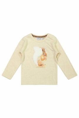 DIRKJE Langarmshirt beige Baby Kinder mit Eichhörnchen Motiv für Mädchen – Rundhalsausschnitt Longsleeve – Vorderansicht