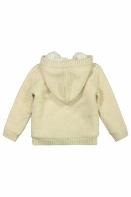 Mädchen Baby Strickjacke kuschelig mit Fuchs Kapuze vollständig gefüttert breite Bündchen beige – Kinder Jacke Fellimitat von DIRKJE – Rückansicht