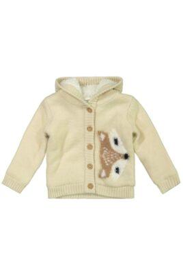 DIRKJE Baby Strickjacke warm mit Fuchs-Motiv breite Bündchen beige – Kinder Jacke Fellimitat für Mädchen – Vorderansicht