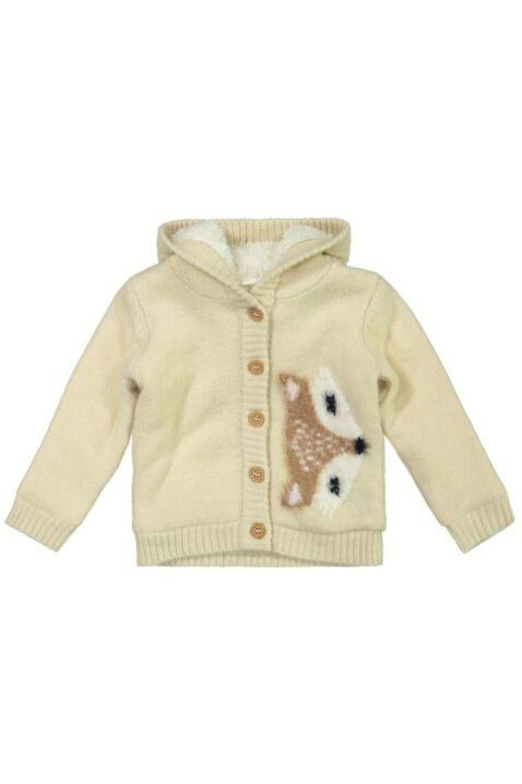 Baby Strickjacke warm mit Fuchs-Motiv breite Bündchen beige – Kinder Jacke Fellimitat für Mädchen von DIRKJE – Vorderansicht