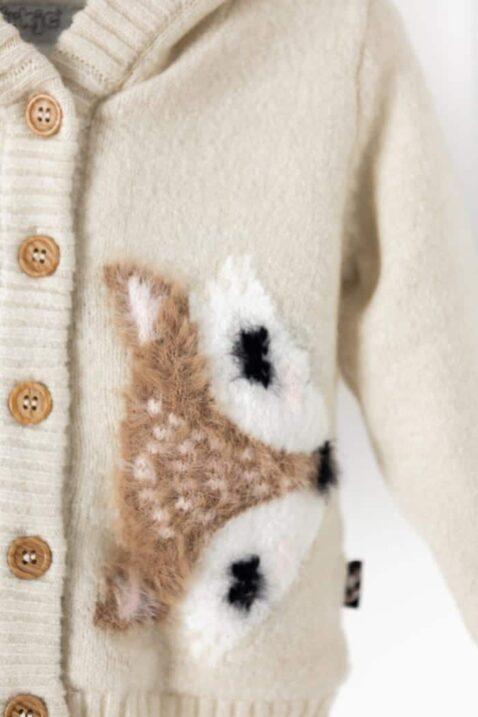 Baby Winter Strickjacke flauschig mit Fuchs Tiermotiv vollständig gefüttert breite Bündchen beige – Kinder Jacke mit Kapuze Fellimitat für Mädchen von DIRKJE – Detailansicht