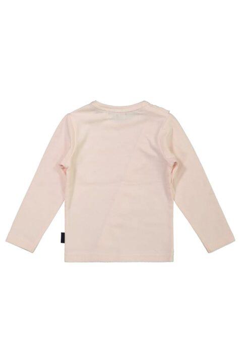 Baby Basic Langarmshirt hellrosa mit Rüschen für Mädchen – Kinder Oberteil Rundhalsausschnitt von DIRKJE – Rückansicht