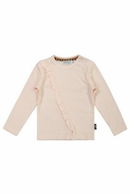 DIRKJE Langarmshirt rosa Baby Kinder mit Rüschen für Mädchen – Rundhalsausschnitt Longsleeve – Vorderansicht