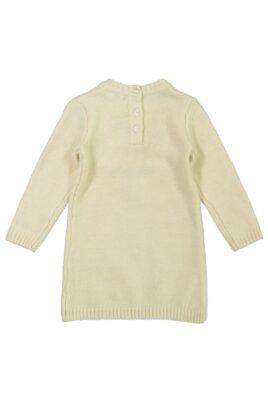 Mädchen Strickkleid warm knielang mit Fuchs-Motiv Winter beige Rippbündchen – Baby Kinder Kleid langarm von DIRKJE – Rückansicht