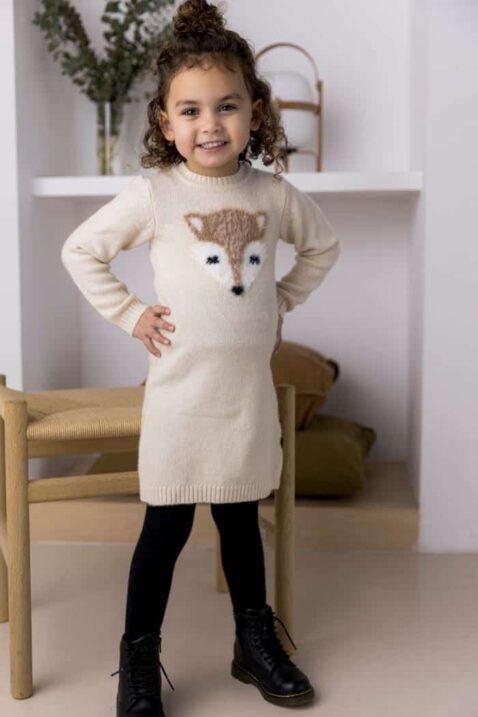 Baby Mädchen Strickkleid knielang mit Fuchs-Motiv kuschelig beige – Kinder Kleid langarm schwarze Leggings von DIRKJE – Kinderfoto