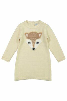 DIRKJE Baby Langarm Strickkleid knielang mit Fuchs-Motiv beige – Kinder Langarm-Kleid warm für Mädchen – Vorderansicht