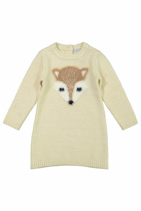 Mädchen Baby langarm Strickkleid knielang mit Fuchs-Motiv kuschelig beige Rippbündchen – Kinder Kleid langarm von DIRKJE – Vorderansicht