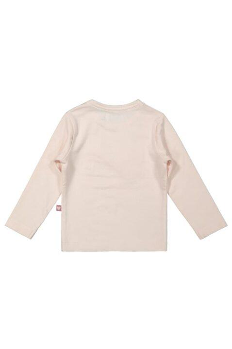 Mädchen Baby Langarmshirt hellrosa mit Herz-Applikation – Kinder langarm Oberteil Rundhalsausschnitt von DIRKJE – Rückansicht