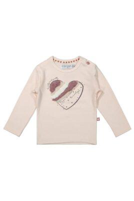DIRKJE Langarmshirt rosa Baby Kinder mit Herz Fransen für Mädchen – Rundhalsausschnitt Longsleeve – Vorderansicht