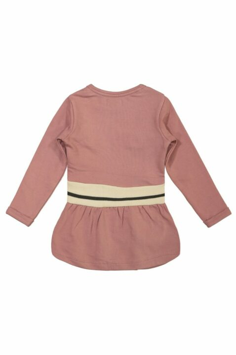 Rosa Mädchen Baby Langarmkleid knielang breiter Bund beige schwarzer Streifen Gesicht Motiv – Kinder Kleid Faltenrock von DIRKJE – Rückansicht