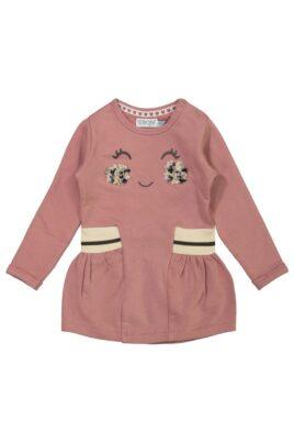 DIRKJE Baby Langarmkleid knielang mit Gesicht-Motiv breiter Bund beige – Rosa Kinder Kleid Faltenrock für Mädchen – Vorderansicht