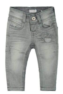 DIRKJE Mädchen Basic Baby Jeans grau in Used Optik mit aufgenähten Herzen Denim Kinderhose verwaschen – lange Kinder Denim Grey Washed Babyjeans – Vorderansicht