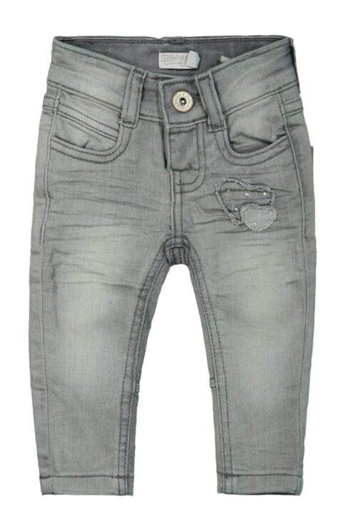 Mädchen Basic Baby Jeans grau in Used Optik mit aufgenähten Herzen Denim Kinderhose verwaschen - lange Kinder Denim Grey Washed Babyjeans von DIRKJE - Vorderansicht