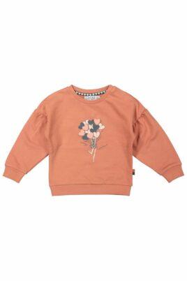 DIRKJE Baby Sweatshirt in Altrosa Pullover mit Herzen Ballon Motiv Oberteil mit breiten Bündchen & Ärmel mit Falten für Mädchen – Kinder Rundhalsausschnitt Longsleeve – Vorderansicht