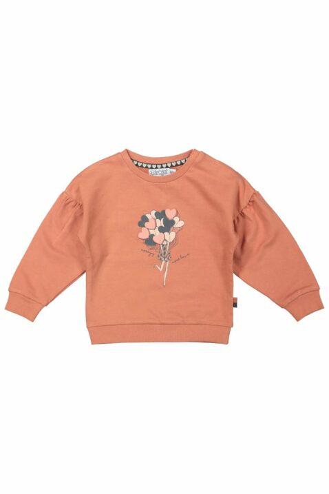 Baby Sweatshirt in Altrosa Pullover mit Herzen Ballon Motiv Oberteil mit breiten Bündchen & Ärmel mit Falten für Mädchen - Kinder Rundhalsausschnitt Longsleeve von DIRKJE - Vorderansicht