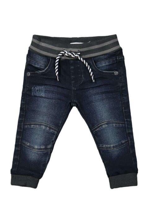 Jungen Baby Basic Jeans blau in Used Optik Slim Fit mit Naht-Stitching & Komfortbund Denim Jogging Kinderhose verwaschen - lange Babyjeans Washed von DIRKJE - Vorderansicht