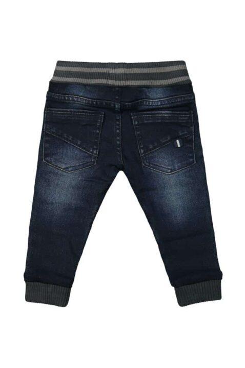 Baby Jeans lange Jogginghose dunkelblau in Used Look Slim Fit mit Naht-Stitching Denim moderne Waschung - Kinder Jungen Sweatpants von DIRKJE - Rückansicht