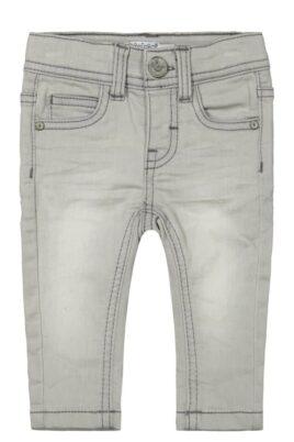 DIRKJE Jungen Basic Jeans 5-Pocket grau in Used Optik mit Naht-Stitching & Knopfverschluss Denim gestrickt Kinderhose verwaschen – lange Baby Denim Washed Kinderjeans – Vorderansicht