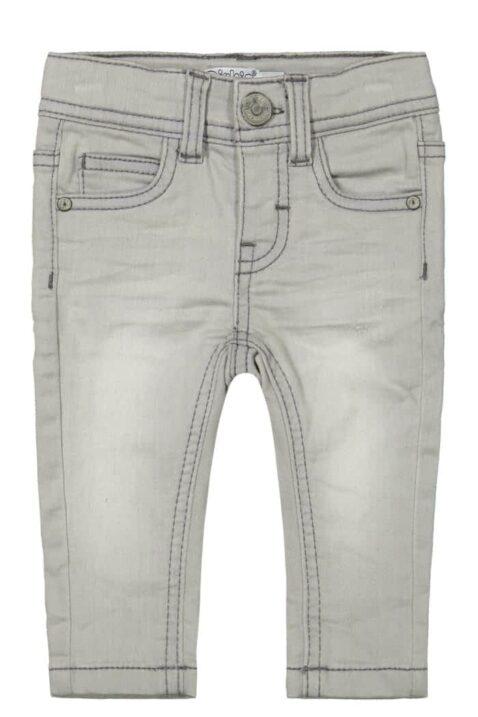 Jungen Basic Jeans 5-Pocket grau in Used Optik mit Naht-Stitching & Knopfverschluss Denim gestrickt Kinderhose verwaschen - lange Baby Denim Washed Kinderjeans von DIRKJE - Vorderansicht