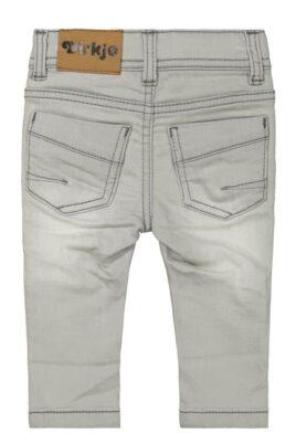 Baby Basic 5-Pocket Jeans lange Kinderhose grau gestrickt in Used Look mit Naht-Stitching Denim moderne Waschung - Jungen Sweatpants Grey Washed von DIRKJE - Rückansicht