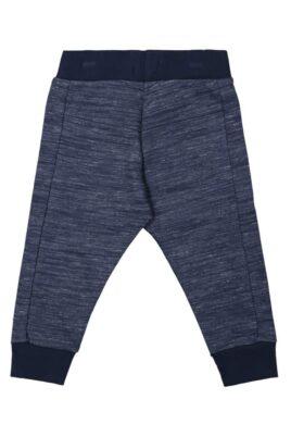 Baby Jogginghose flache Beinteilung lange Kinderhose blau meliert mit Naht-Stitching & Komfortbund - Jungen Kinder Sweatpants von DIRKJE - Rückansicht