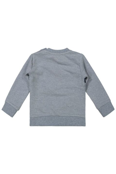 Baby Basic Pullover in Grau Langarmshirt mit Schriftzug North Lake Oberteil mit breiten Rippbündchen für Jungen - Rundhals Kinderpullover von DIRKJE - Rückansicht